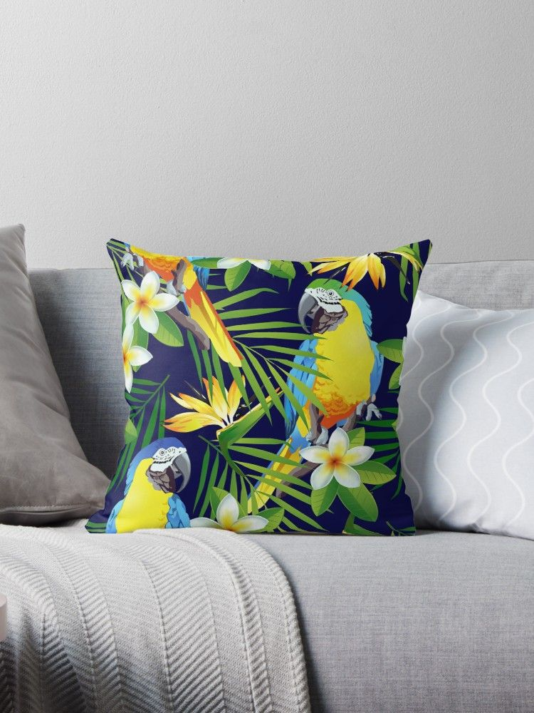 Buy  Colorful Parrots and Exotic Flowers Throw Pillow  by webeller as a  Graphic T-Shirt 58bcd4cb1