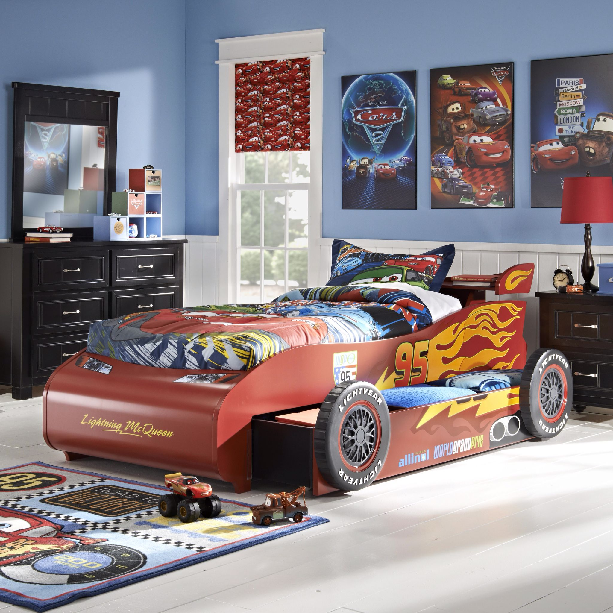 Affordable Disney Cars Bedroom Furniture For Sale. Disney Cars Bedroom Set  Featuring A Lightning McQueen Bed, Dresser, And Mirror.