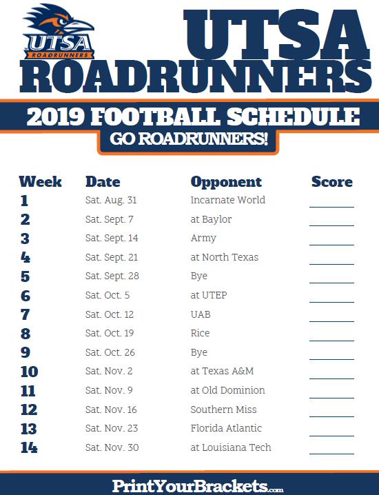 Printable 2019 Utsa Roadrunners Football Schedule College