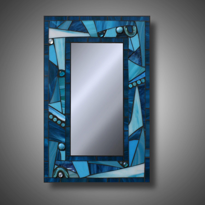 Espejo mosaico de cristal azul turquesa freestyle funky for Mosaicos para espejos