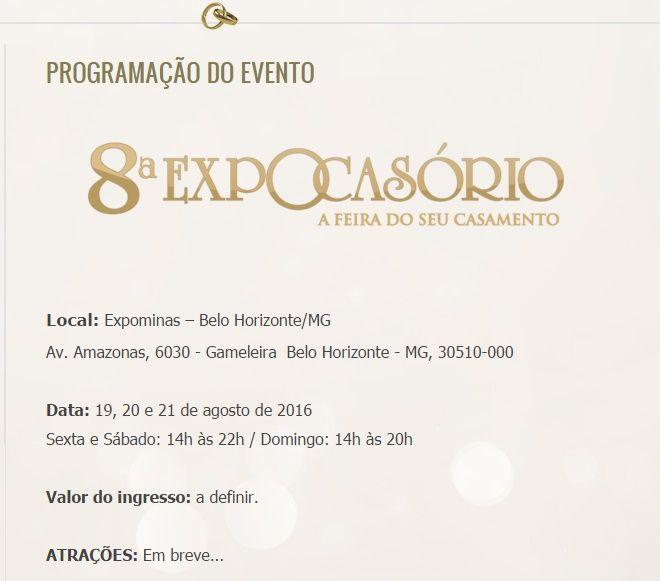Expocasório 2016 BH - MG Feira de exposição casamento  http://www.expocasorio.com.br/index.php/programacao-do-evento.html