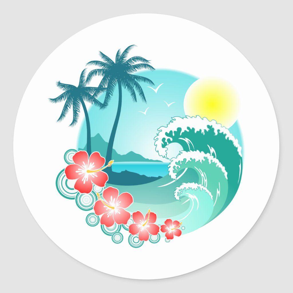 Hawaiian Island 3 Classic Round Sticker Zazzle Com In 2021 Hawaiian Flower Drawing Hawaiian Art Flower Drawing [ 1024 x 1024 Pixel ]