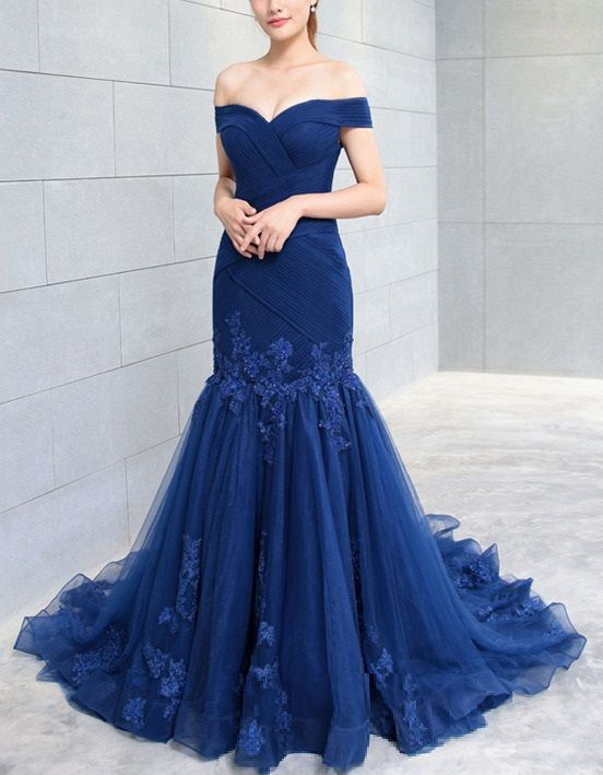 86cd9558ce36 Chiffon and Organza Fit-and-flare off-the-Shoulder Gown is a spectacular