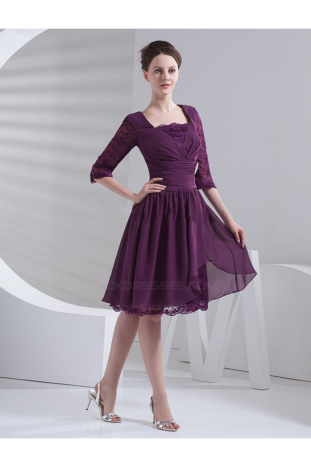 A-Line Half Sleeve Short Mother of the Bride Dresses M010082