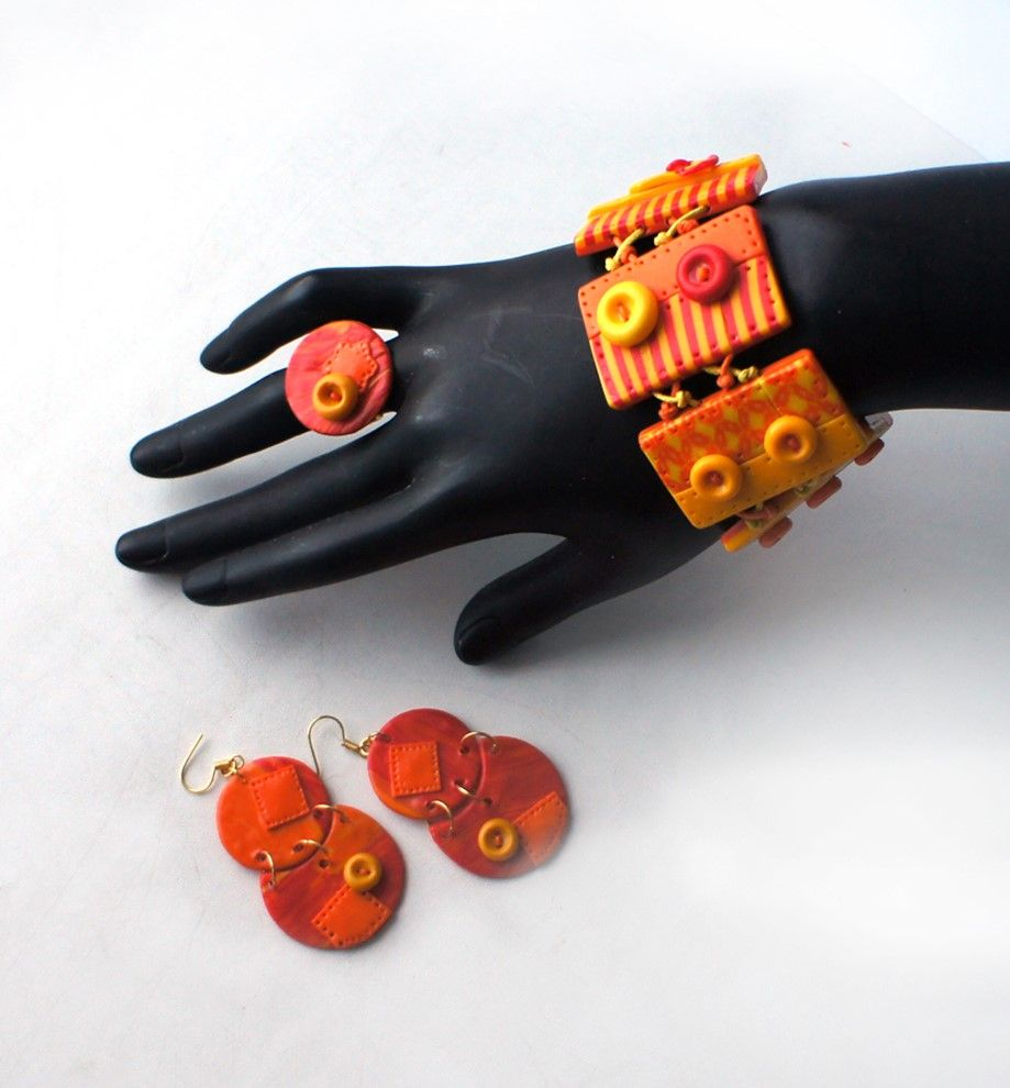 Bright accessories made with their hands. Handmade Polymer clay bracelet