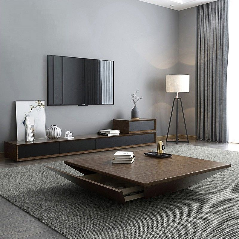 Modern Black Wood Coffee Table With Storage Square Drum Coffee Table With Drawer Centre Table Living Room Center Table Living Room Modern Wood Coffee Table