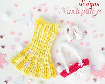 "PATTERN ""Yellow dress, shoes and bag Dolls Jessica"" (crochet, amigurumi)"