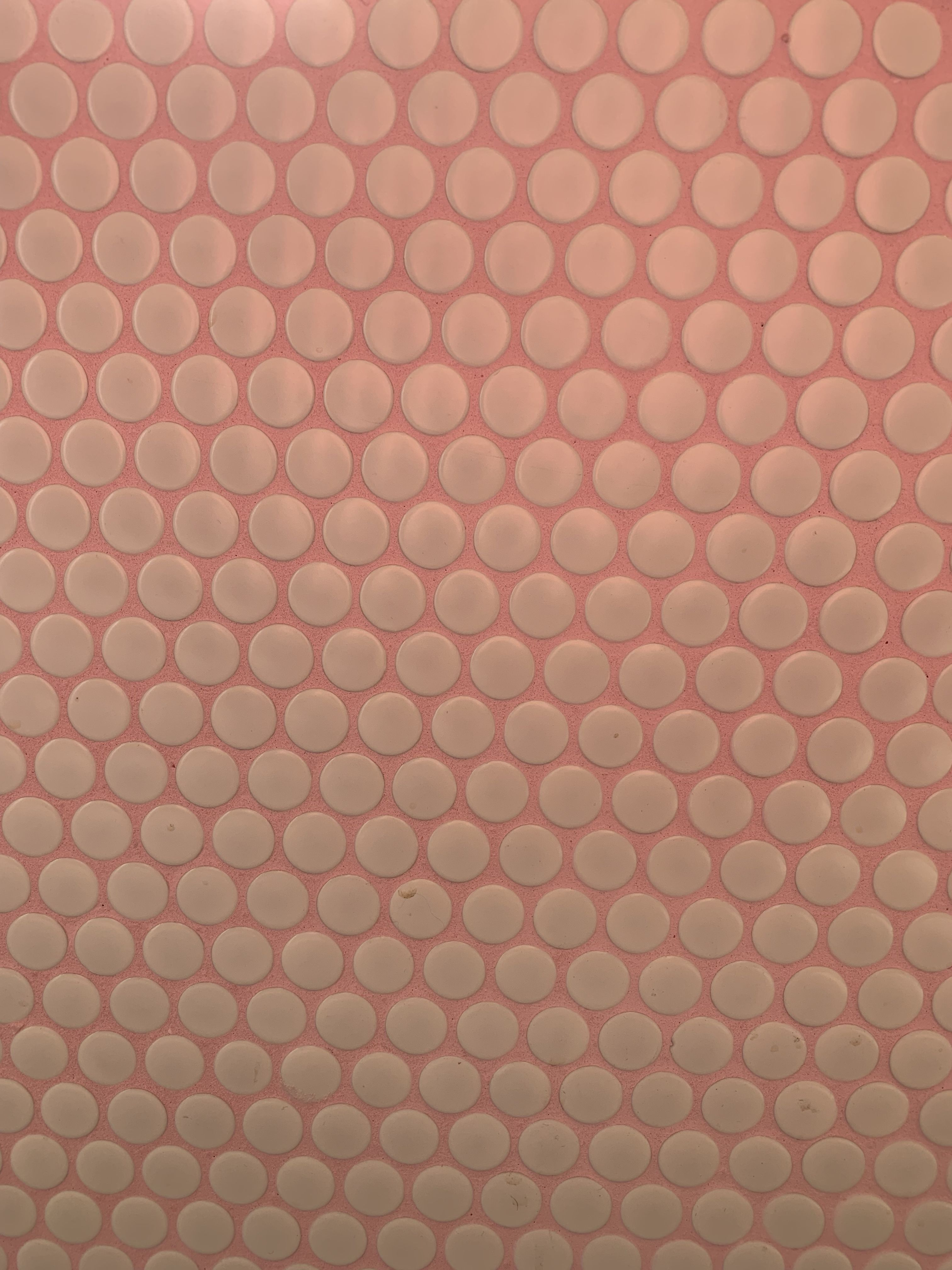 penny tile on pink grout penny tile