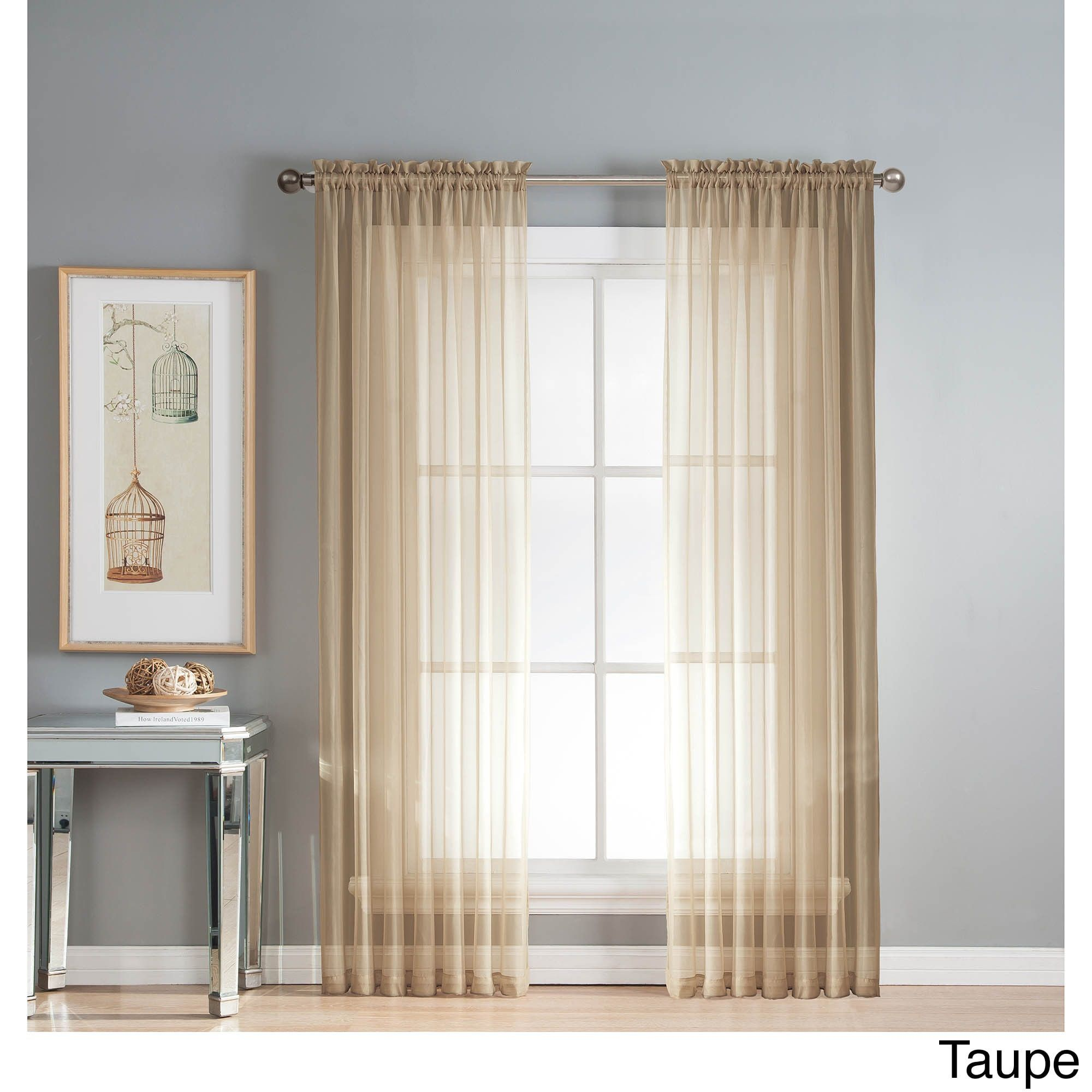 Window elements diamond sheer voile x in rod pocket curtain