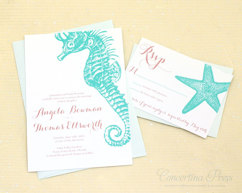 Beach Themed Wedding Invitations Templates: Aqua Seahorse Wedding Invitation Set