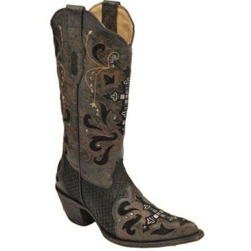 bf23dbb436d $349.99 Yes Please! Corral Ladies' Cowgirl Boots Black Python With ...