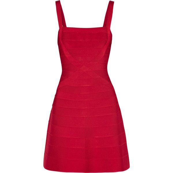 c967074516f2 Hervé Léger Bandage mini dress (1 957 AUD) ❤ liked on Polyvore featuring  dresses, red, bandage dress, panel dress, short red dress, crisscross  dresses and ...