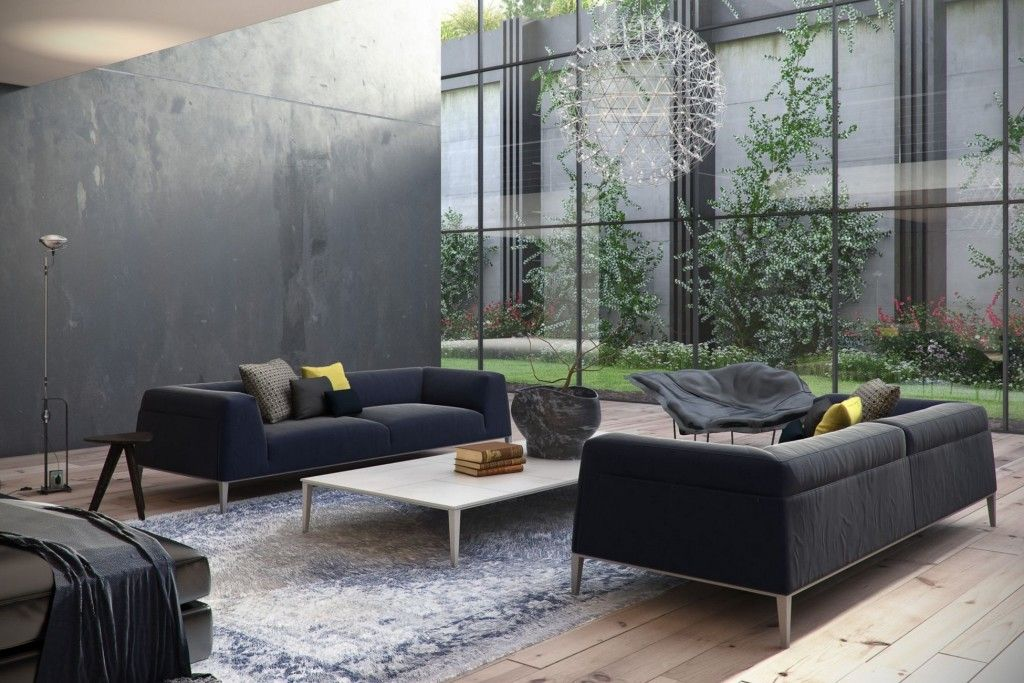 Minimalist Black Sofa Living Room With Extra Large Rugs Under White Table Decoration And Glass Wind Black Sofa Living Room Living Room Designs Green Room Decor