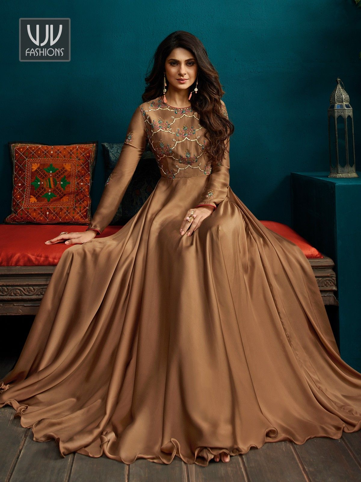 Jennifer Winget Brown Georgette Designer Anarkali Suit Designer Dresses Indian Indian Gowns Dresses Designer Anarkali