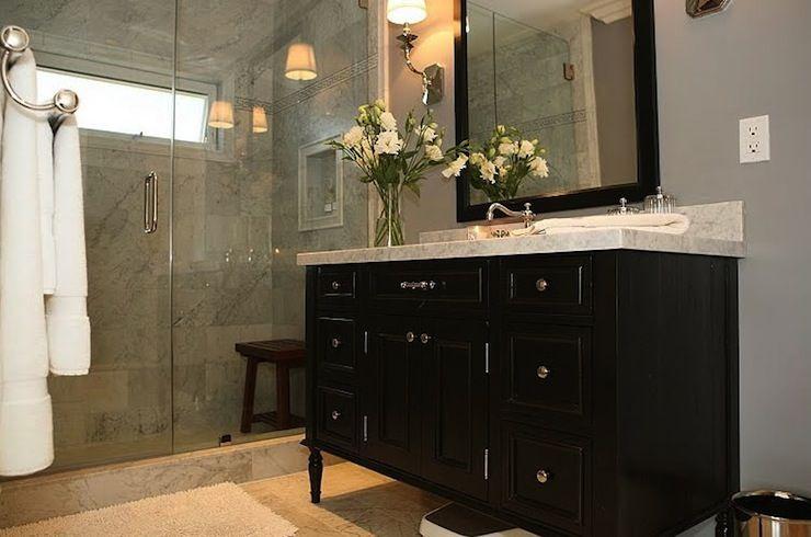 Photo Image Marble top with black vanity and silver hardware Jeff Lewis DesignDesign BathroomMaster