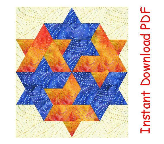 Winner Lucky Star quilt block pattern, Paper pieced mini-quilt ...