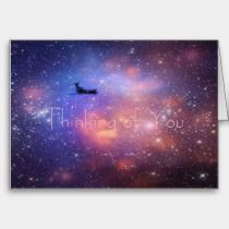 Thinking of you Space Airplane Note Card cards