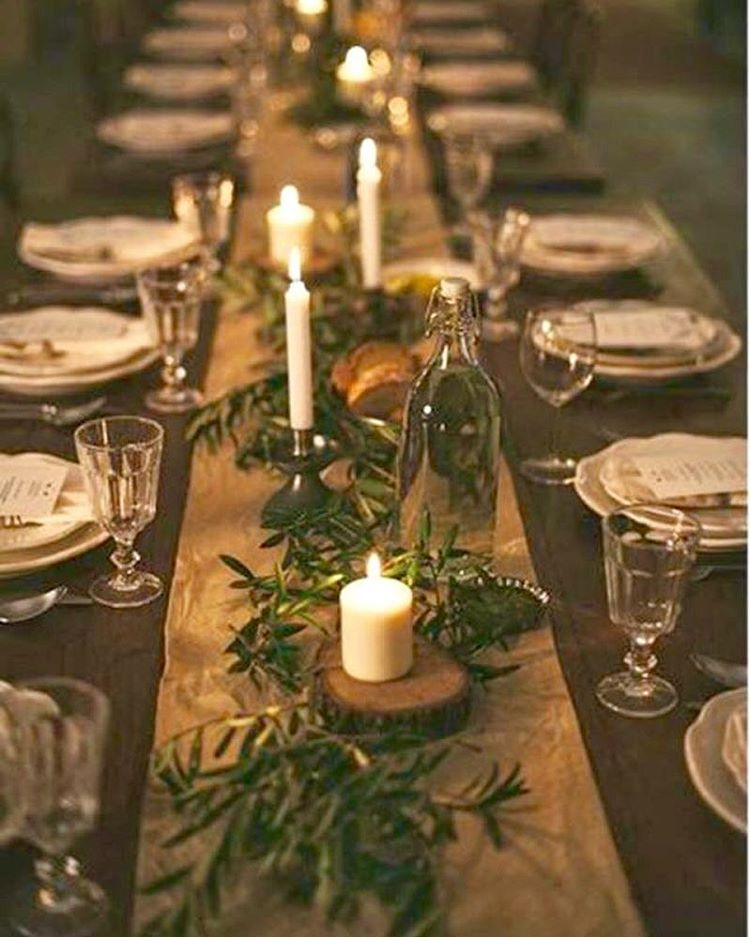 Rosemary On The Candles On Wood Slabs Christmas Decorations Christmas Table Decorations Christmas Table Settings