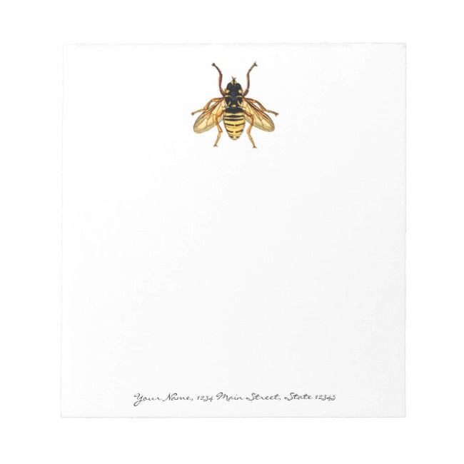 Vintage Yellow and Black Bee Notepad |  Vintage Yellow and Black Bee Notepad