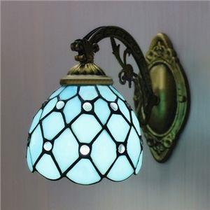 Tiffany Bleu Applique Bronze Ornée Murale Vitrail Une Lampe EDIH29