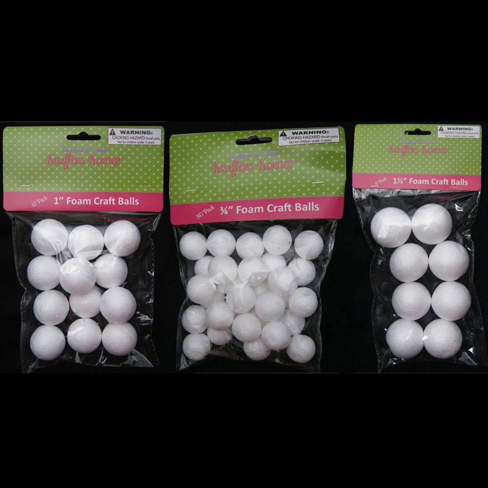 "50 Foam Polystyrene Art Craft Styro White Balls Project Styrofoam 3//4/"" 1/"" 1 1//2/"""