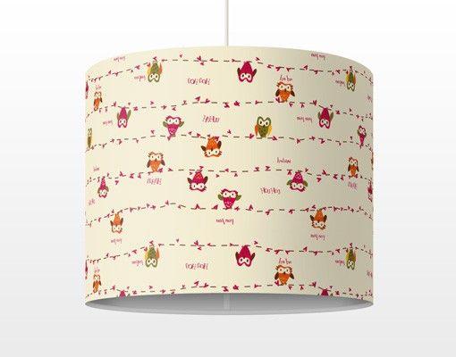 Pendelleuchte - Eulen - Owl Howl - #Lampe - Lampenschirm Rot #Eule - wohnzimmerwand rot