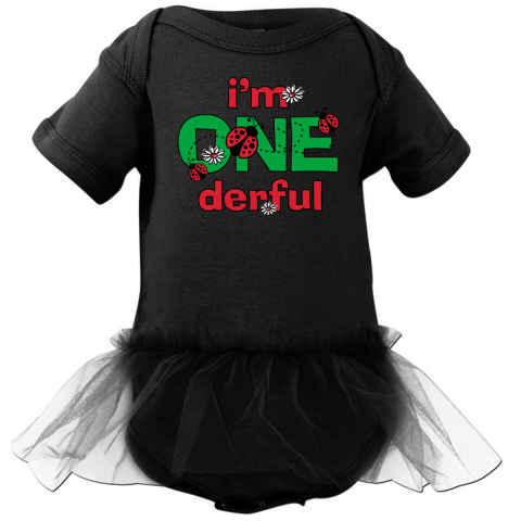 1st birthday I'M ONE-DERFUL Infant Tutu Bodysuit with adorable ladybugs and daisies. Perfect for your little love bug. $34.99 www.pinkinkartkids.com