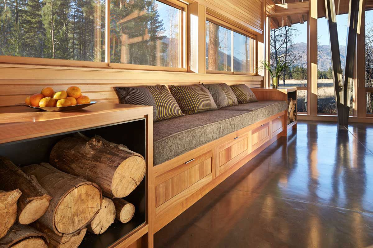 Window seat storage camps pinterest - Sustainable Meadow House Blends Rustic With Modern
