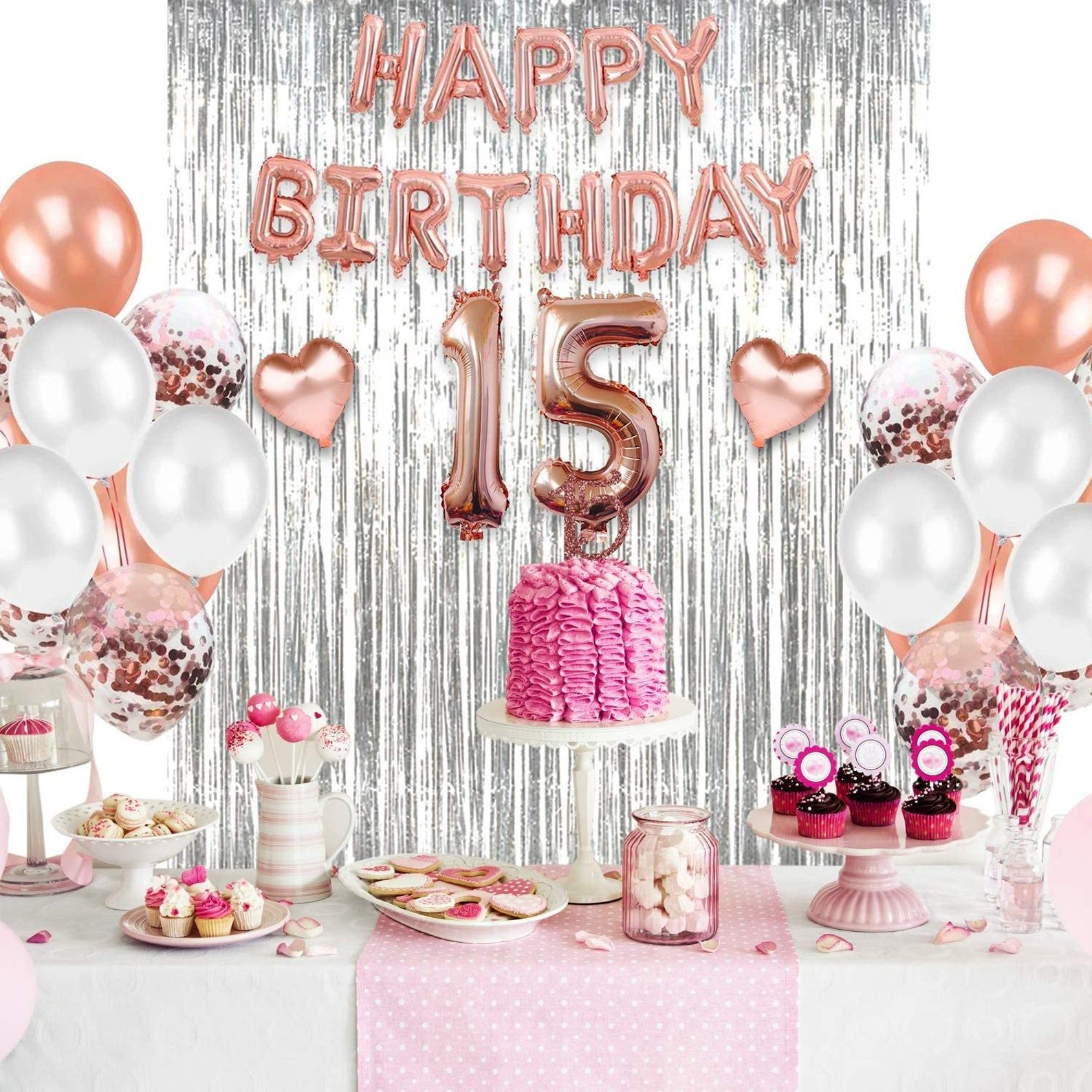 Sweet 15th Birthday Supplies Set And Decorations Includes 15th Birthday Tiara Sash Cake Topper Crown In 2021 15th Birthday Decorations 16th Birthday Decorations Girl Birthday Decorations