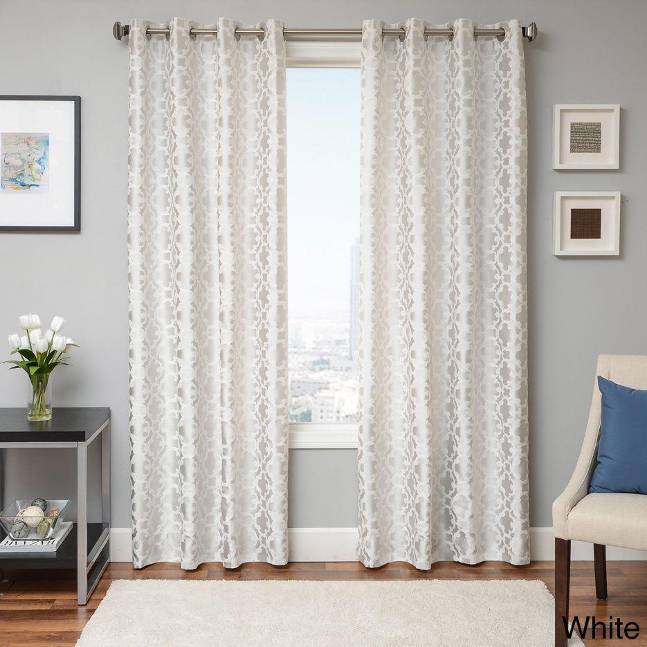 Softline woven jacquard grommet top curtain panel white size