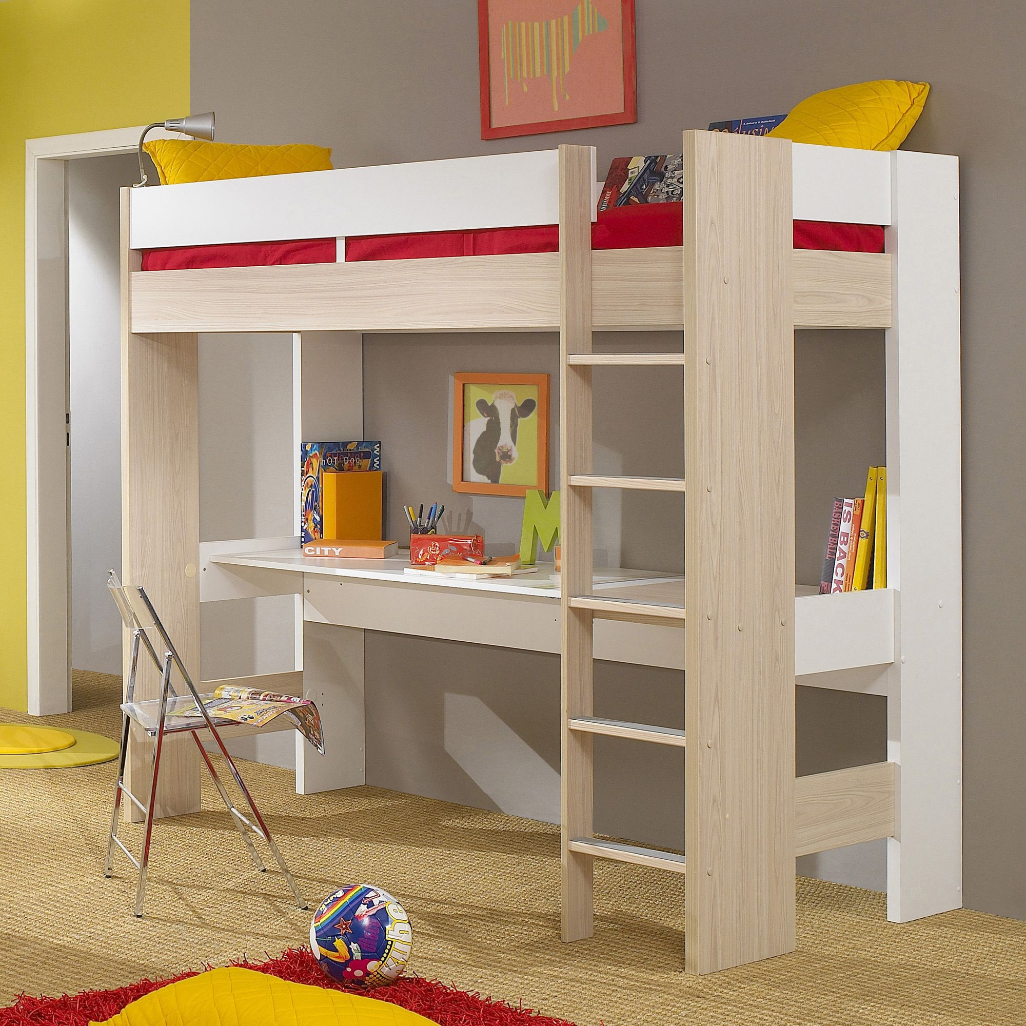 gautier mezzanine largo loft bunk bed with desk closet. Black Bedroom Furniture Sets. Home Design Ideas
