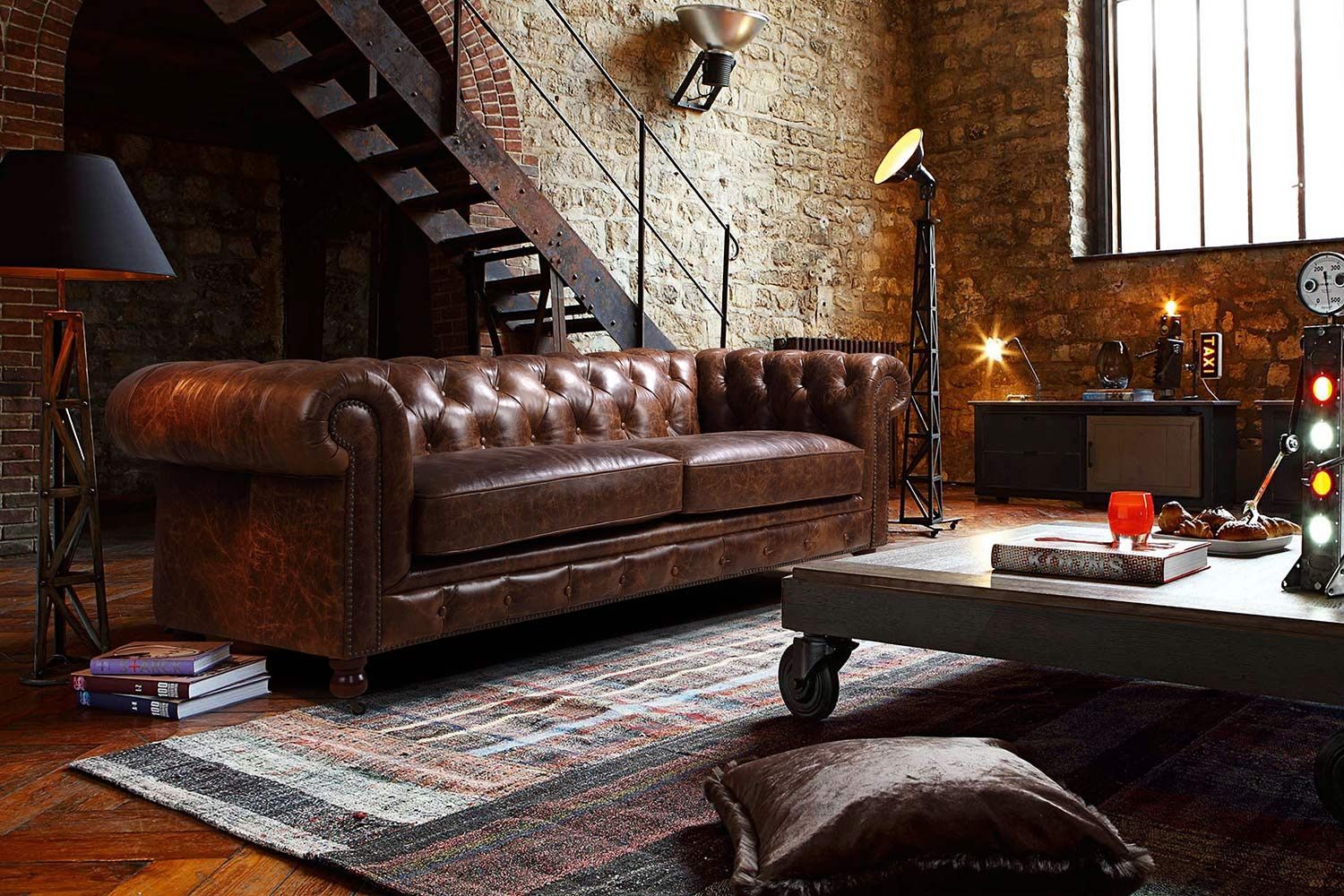 Kensington Chesterfield Leather Sofa by Rose & Moore in an Industrial Interior