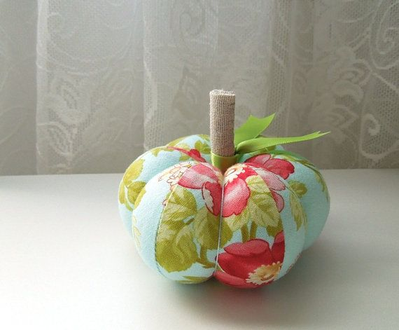 Blue Pumpkin Pincushion in Wild Red Roses by SeaPinks on Etsy