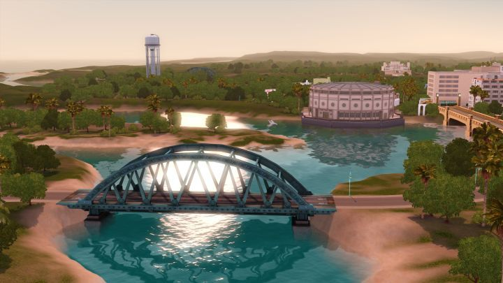 The Sims 3 Roaring Heights World: Bridge and Stadium in Town | Sims ...