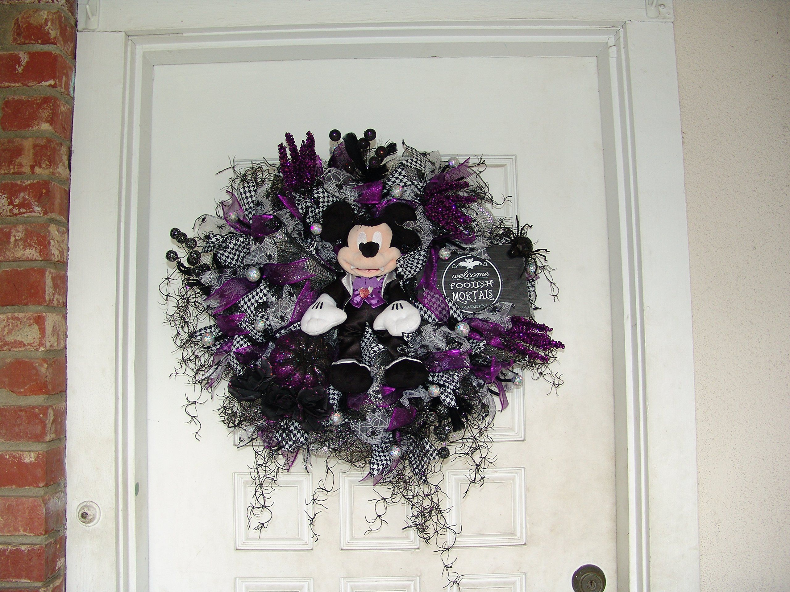 READY TO SHIP! Plush Purple Vampire Mickey Mouse Halloween Wreath - Minnie Mouse Halloween Decorations