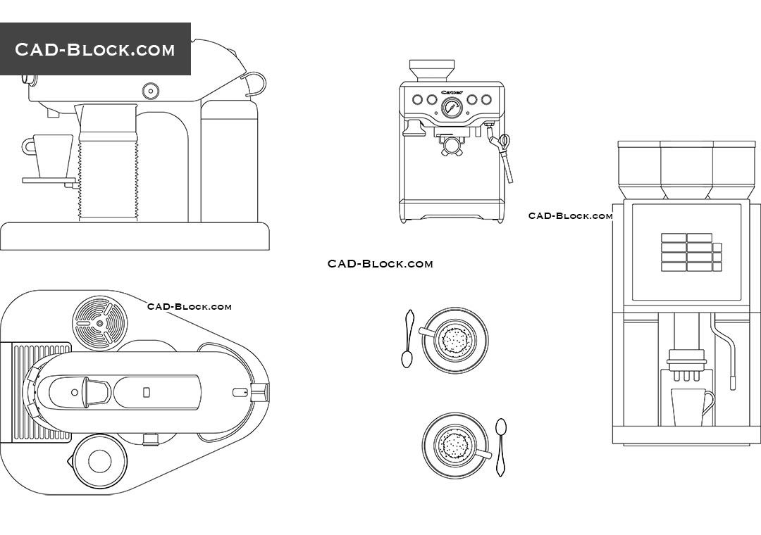 coffee machine free cad drawings
