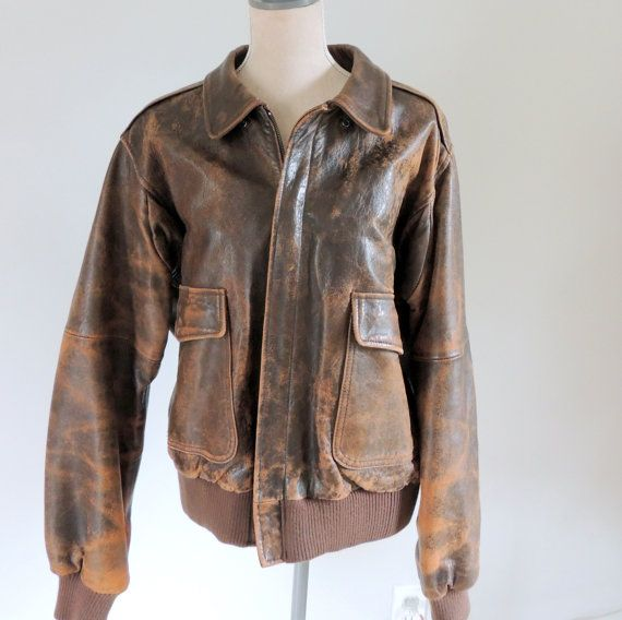 vintage leather jacket mens vintage bomber by BrendasVintageCloset ...