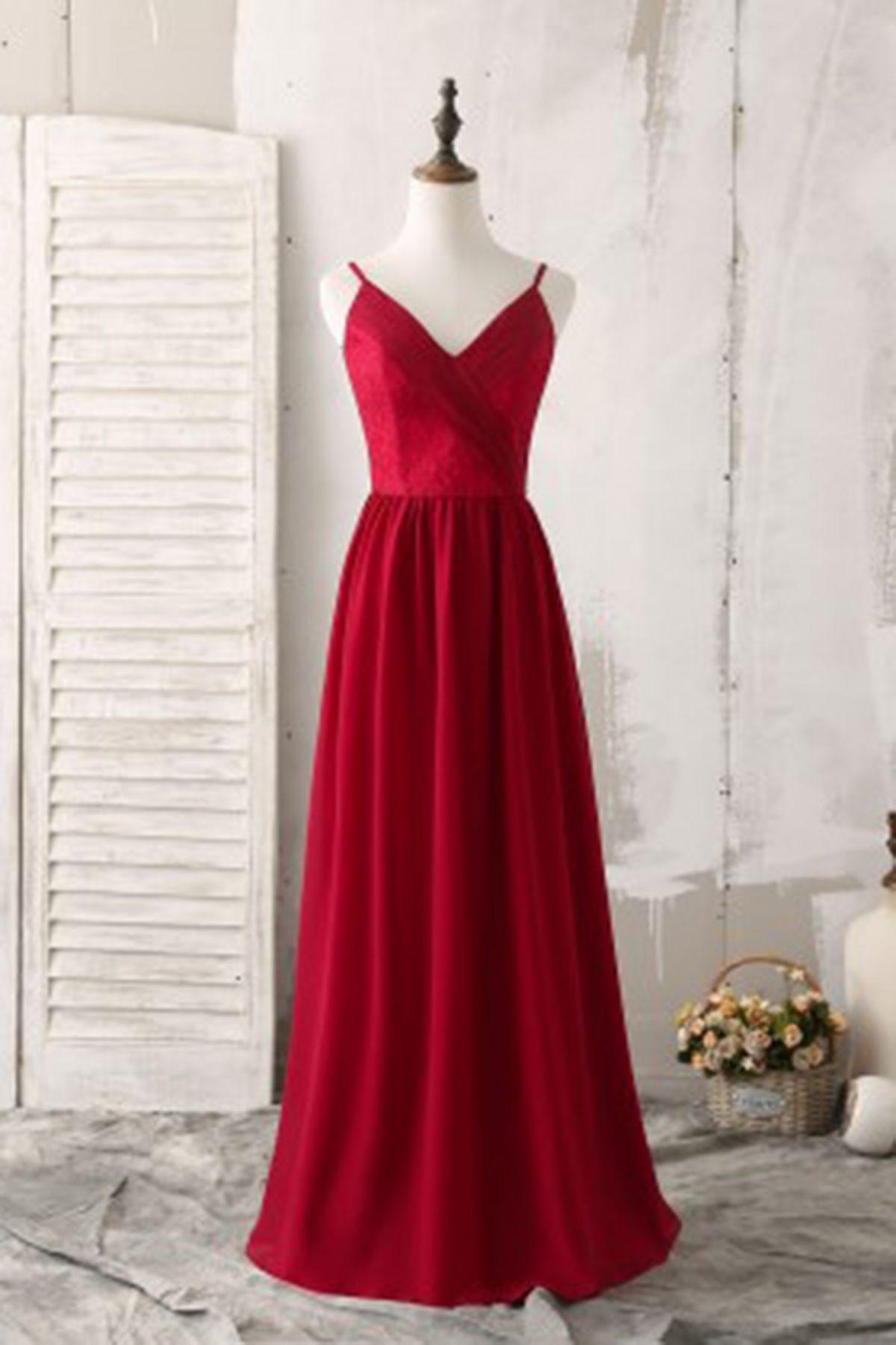 Simple burgundy v neck long prom dress long customize party dresses
