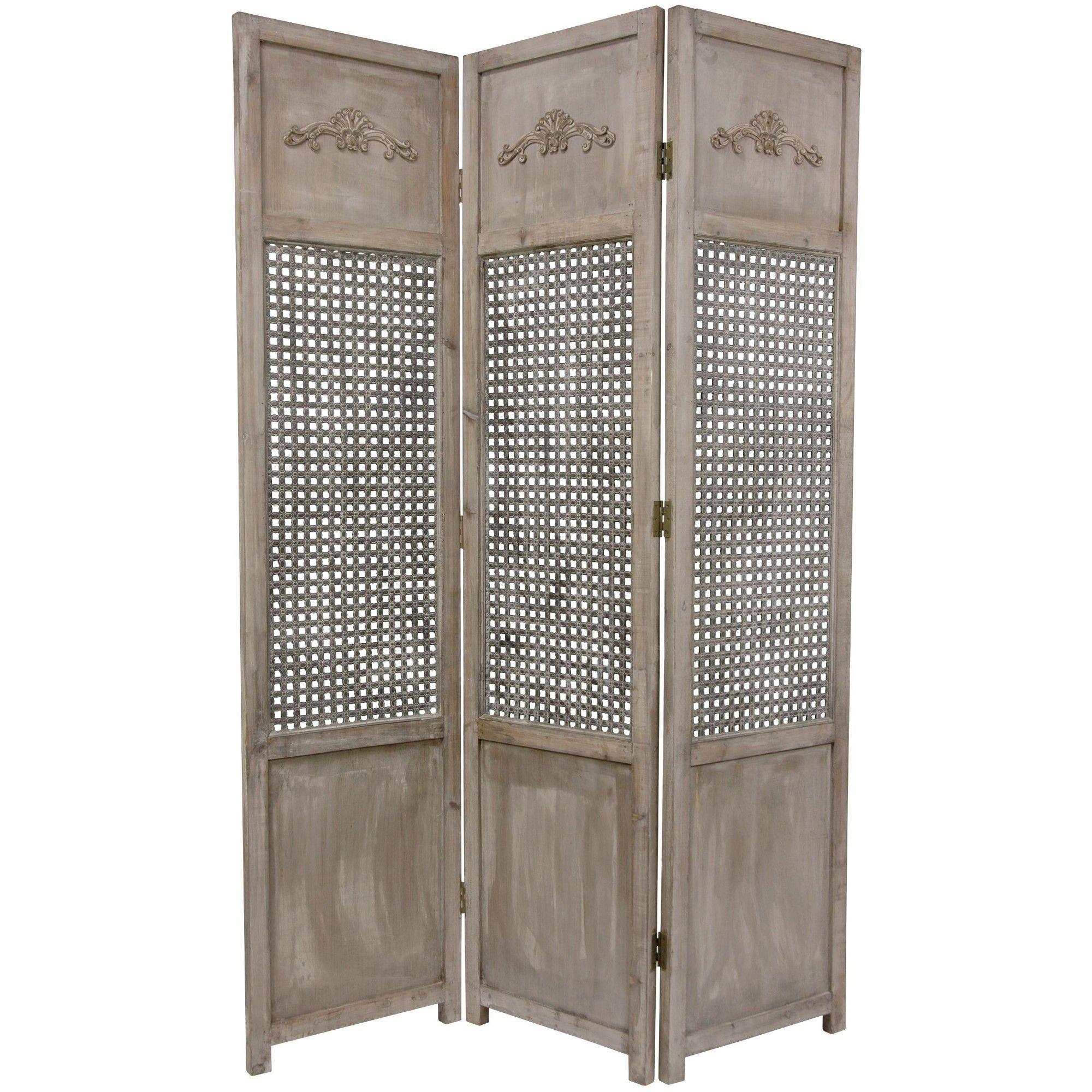 6 Tall Open Mesh Room Divider Oriental Furniture Gray