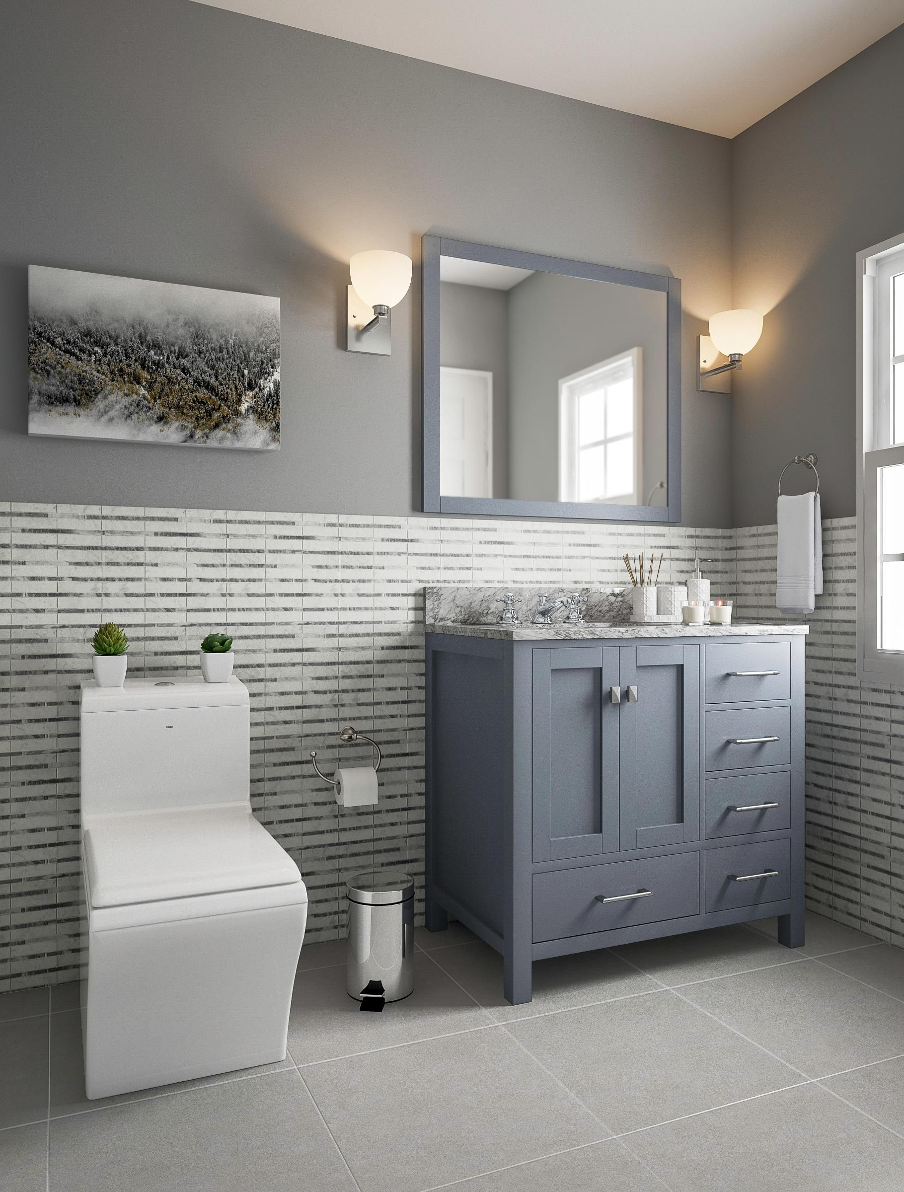 Gray And Blue Bathroom With Wainscoting Wainscoting Bathroom Bathroom Design Small Blue Bathroom