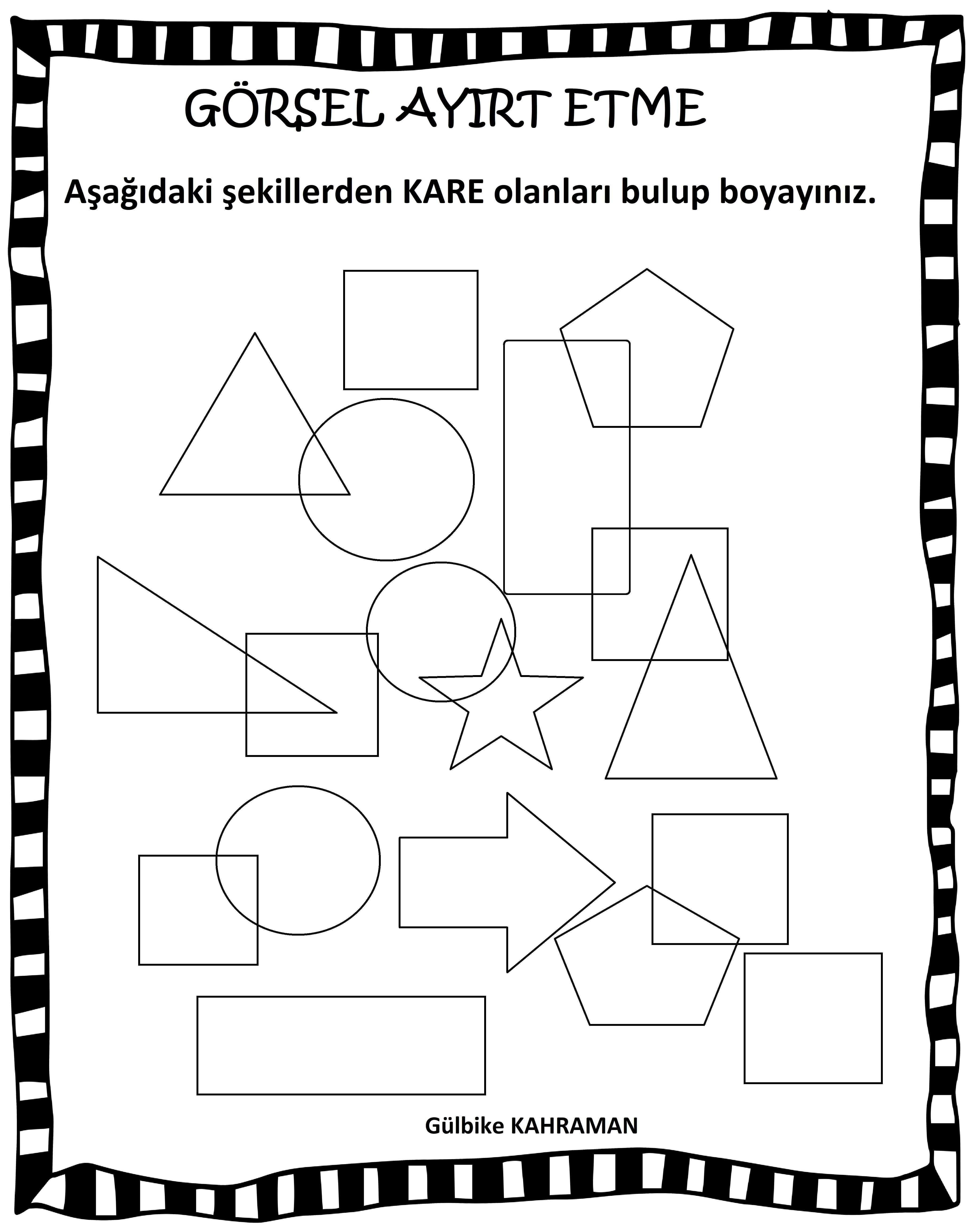 Okul öncesi şekiller Görsel Ayırt Etme Matematik Pinterest