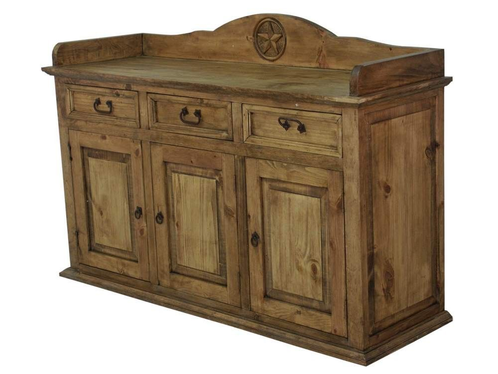 Rustic Wood Sideboard With Texas Star Carving | Rustic Pine Furniture Made  In Mexico