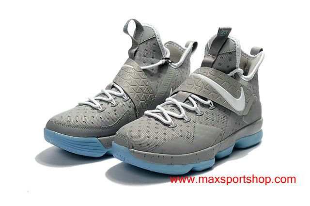 f503668e8a9 Nike LeBron XIV Light Grey White Sky-blue Bottom Basketball Shoes For Men
