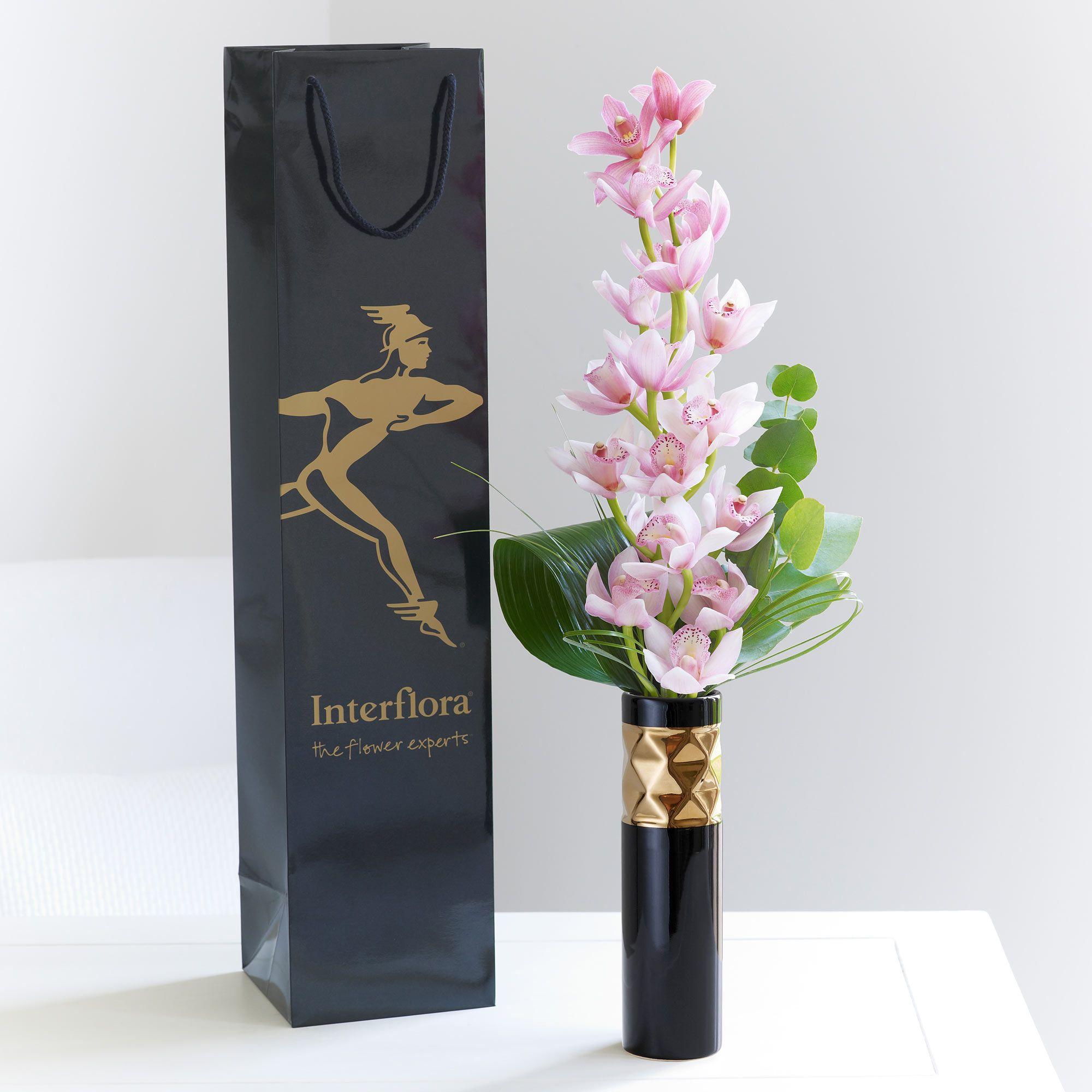 An elegant vase arrangement containing a single pink mini an elegant vase arrangement containing a single pink mini cymbidium orchid reviewsmspy