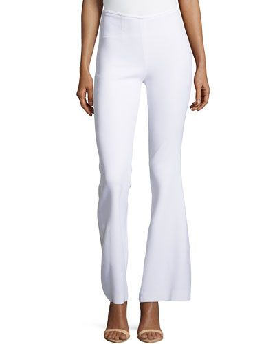 Side-Zip Silk Flared Trousers, Optic White