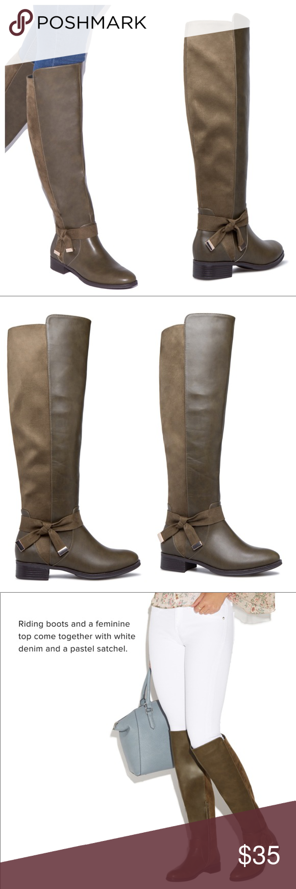 Olive Green Over The Knee Riding Boots