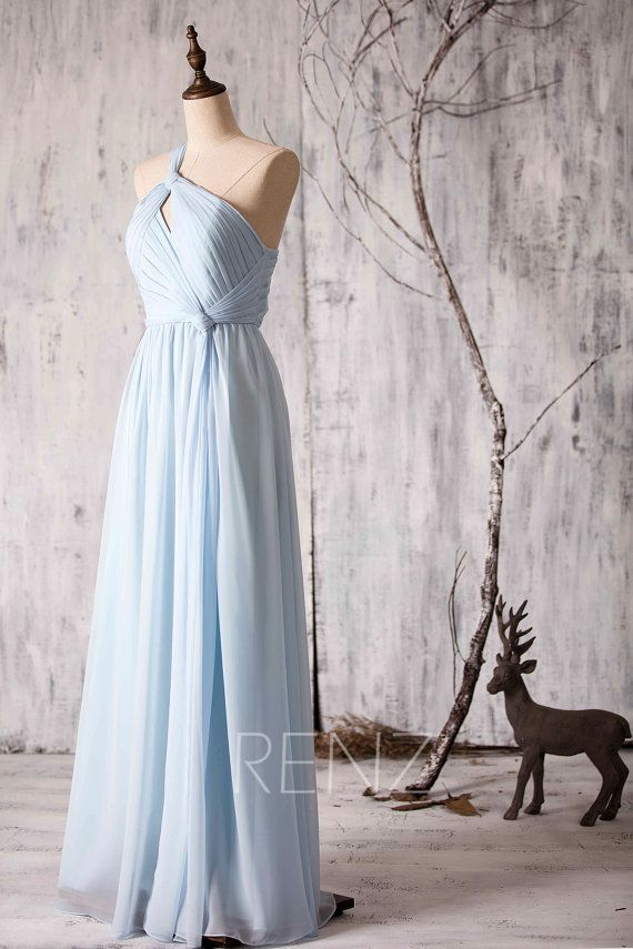 4368c0c8cc5 Bridesmaid Dress Light Blue Chiffon Dress Wedding Dress One Shoulder ...