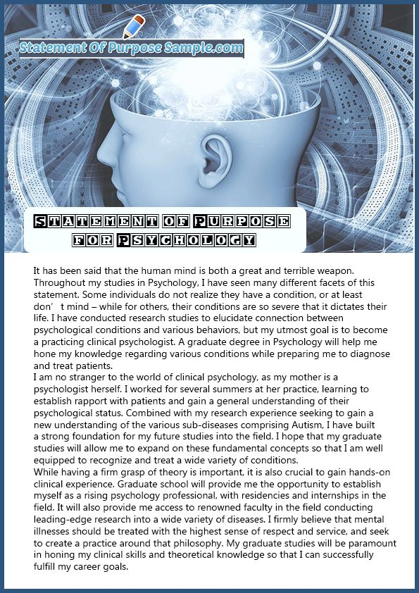 Professional Sample Statement of Purpose Psychology Professional - how to prepare a sop format