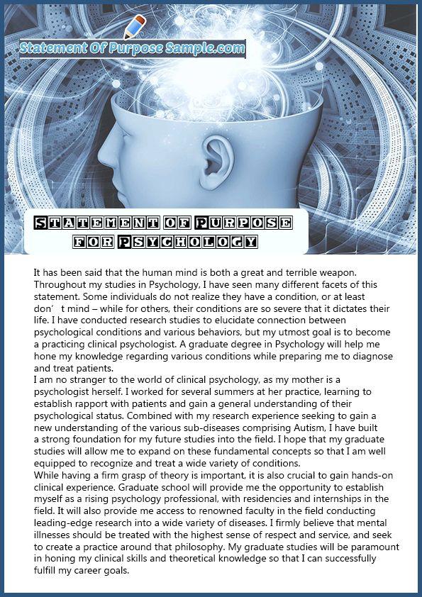 Professional Sample Statement Of Purpose Psychology Psychology