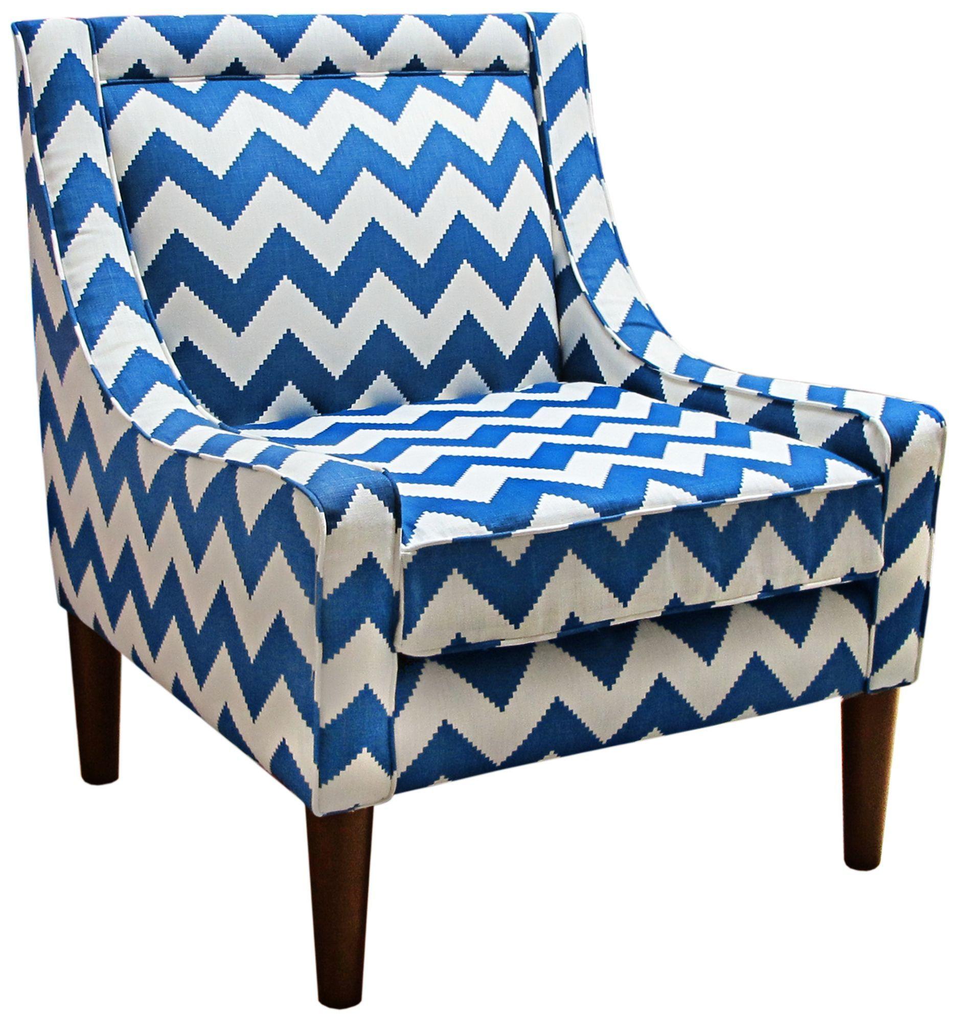 Modern Blue Chevron Marine 33 1/2 Inch H Swoop Accent Chair